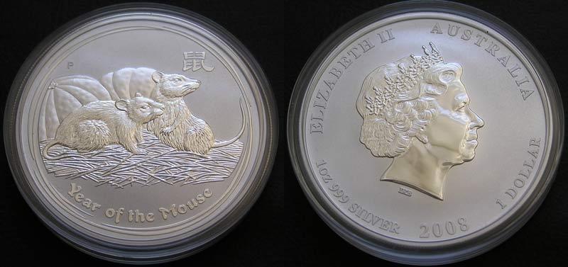 Доллар 2008 мышь унция серебра проба