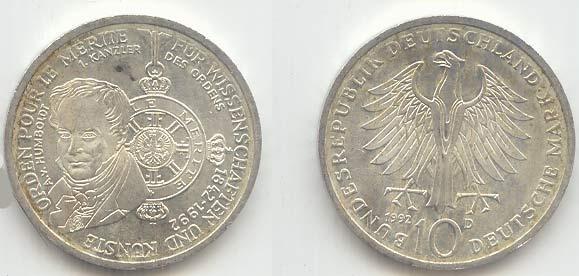 10 марок 1992 orden merite серебро