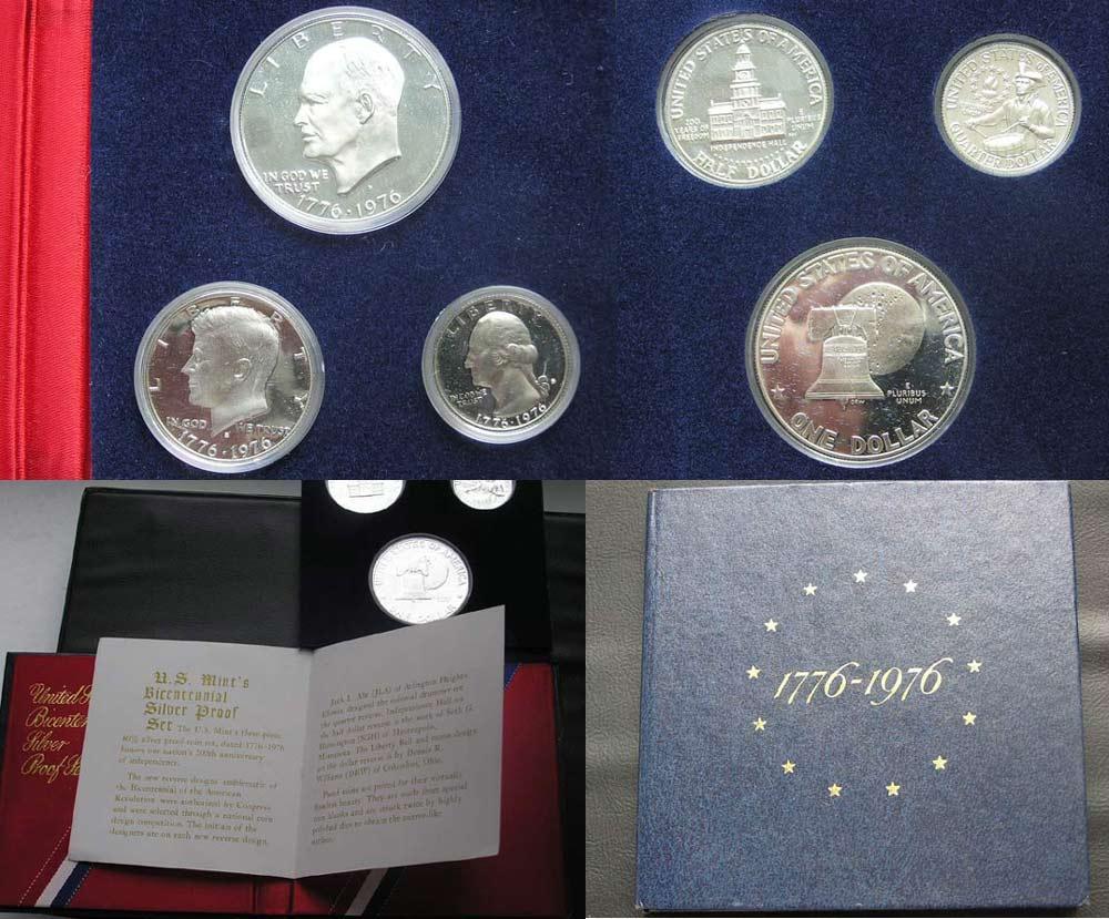 Набор доллар 50центов 25 центов 1976 proof